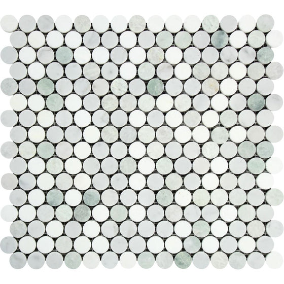 Bianco Carrara Honed Marble Penny Round Mosaic Tile (Carrara + Thassos + Ming Green) - Tilephile
