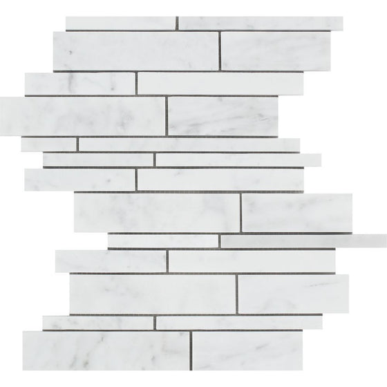 Bianco Carrara Honed Marble Random Strip Mosaic Tile - Tilephile