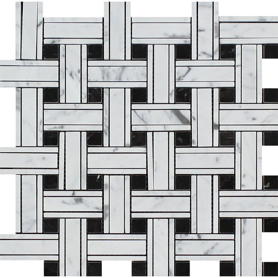 Bianco Carrara Honed Marble Tripleweave Mosaic Tile (w/ Black)