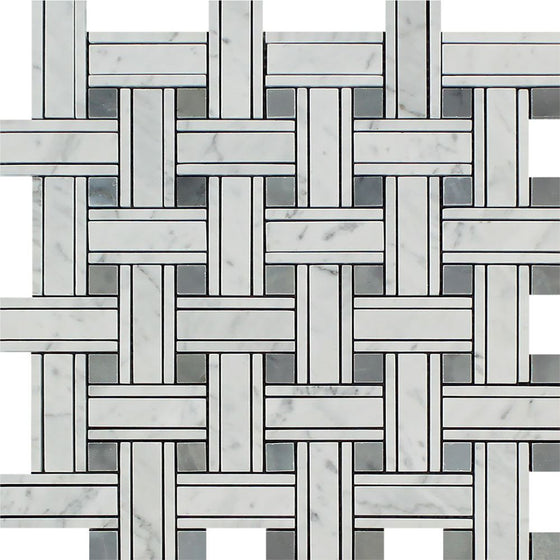 Bianco Carrara Honed Marble Tripleweave Mosaic Tile (w/ Blue-Gray)