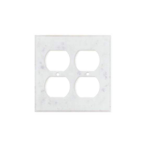 Bianco Carrara (Carrara White) Marble Switch Plate Cover, Honed (2 DUPLEX)