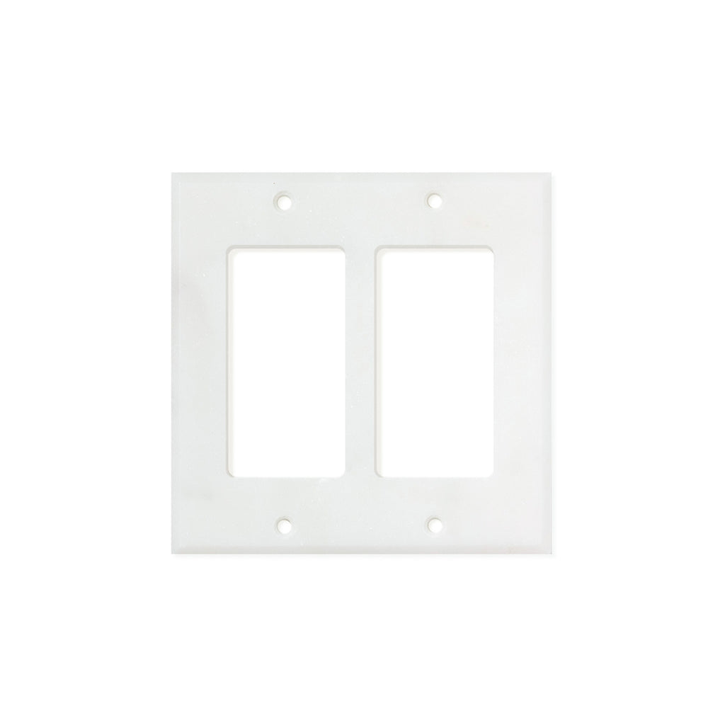 Bianco Carrara (Carrara White) Marble Switch Plate Cover, Honed (2 ROCKER) - Tilephile