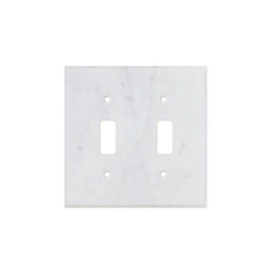 Bianco Carrara (Carrara White) Marble Switch Plate Cover, Honed (2 TOGGLE) - Tilephile