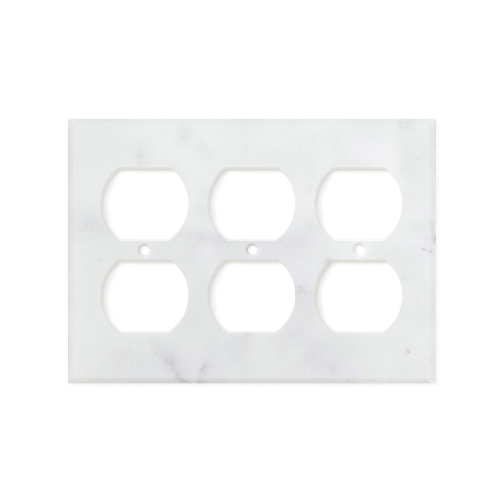Bianco Carrara (Carrara White) Marble Switch Plate Cover, Honed (3 DUPLEX) - Tilephile