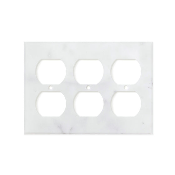 Bianco Carrara (Carrara White) Marble Switch Plate Cover, Honed (3 DUPLEX)