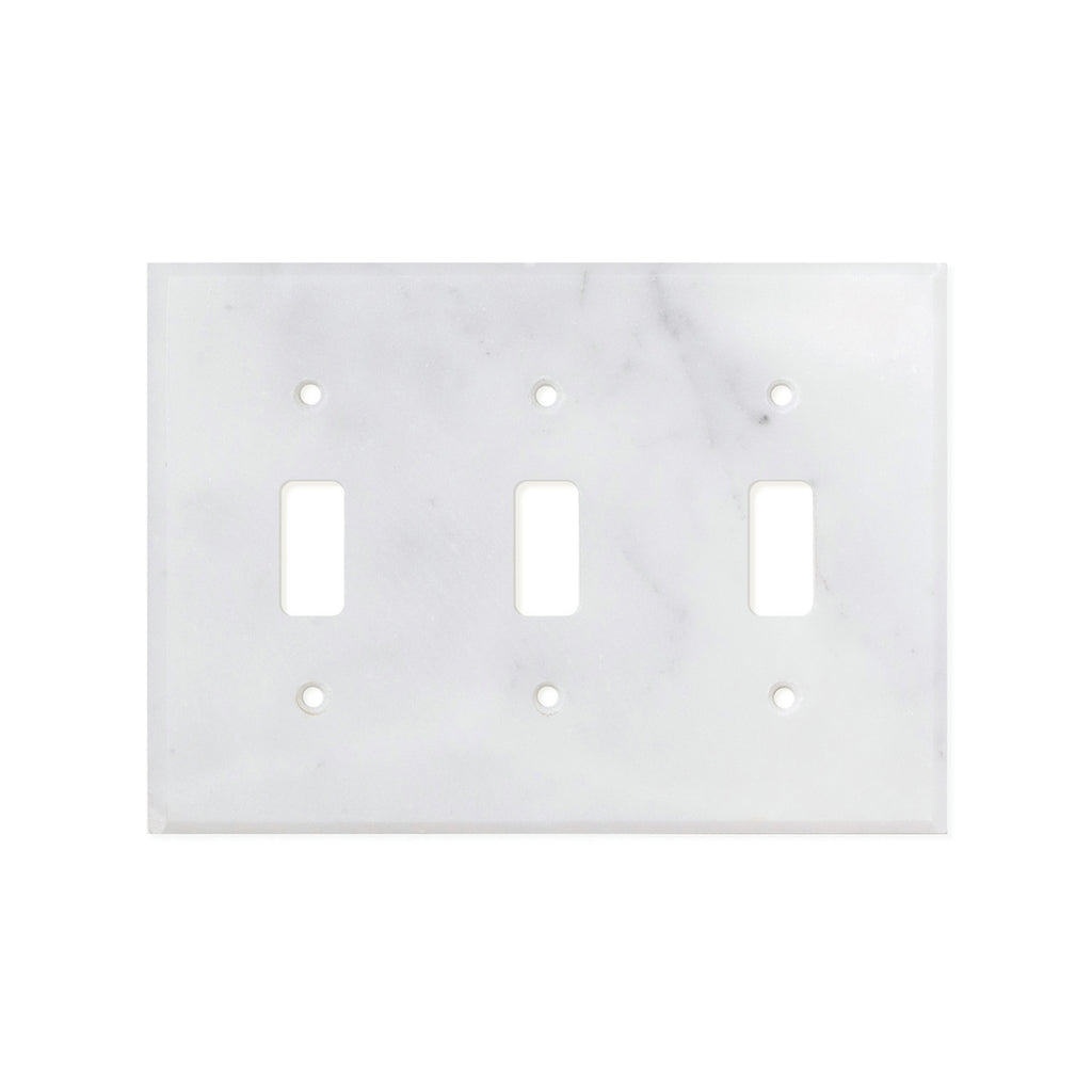 Bianco Carrara (Carrara White) Marble Switch Plate Cover, Honed (3 TOGGLE) - Tilephile