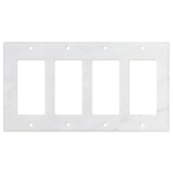Bianco Carrara (Carrara White) Marble Switch Plate Cover, Honed (4 ROCKER)