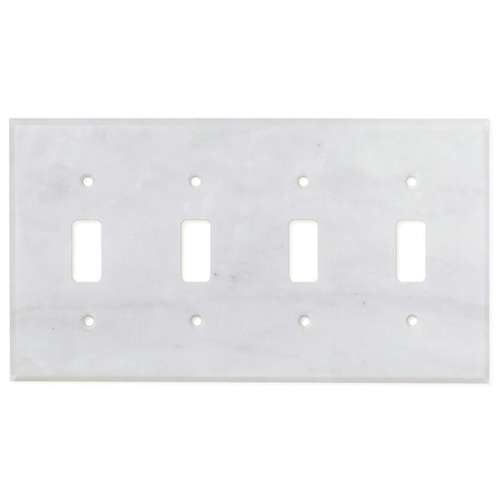 Bianco Carrara (Carrara White) Marble Switch Plate Cover, Honed (4 TOGGLE) - Tilephile