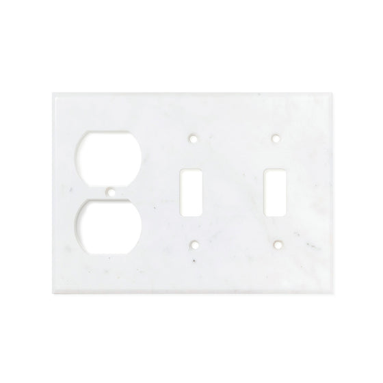 Bianco Carrara (Carrara White) Marble Switch Plate Cover, Honed (DOUBLE TOGGLE DUPLEX)