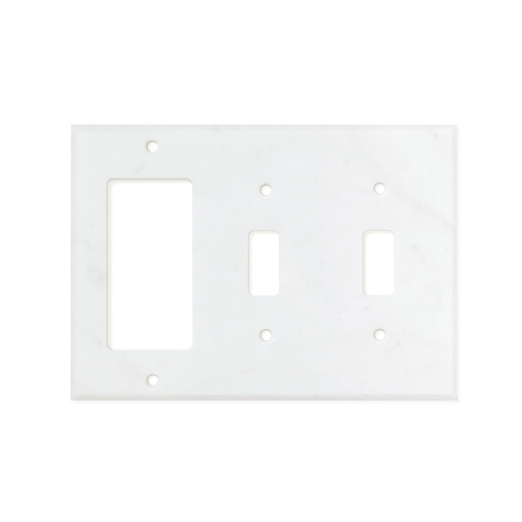 Bianco Carrara (Carrara White) Marble Switch Plate Cover, Honed (DOUBLE TOGGLE ROCKER)
