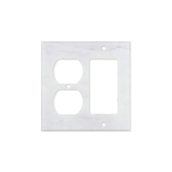Bianco Carrara (Carrara White) Marble Switch Plate Cover, Honed (ROCKER DUPLEX)