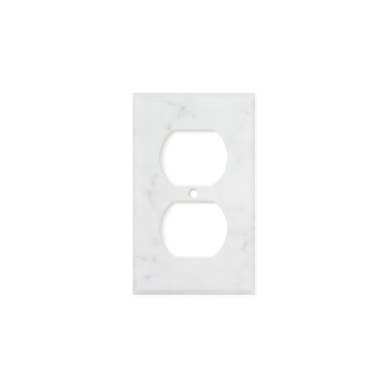 Bianco Carrara (Carrara White) Marble Switch Plate Cover, Honed (SINGLE DUPLEX)