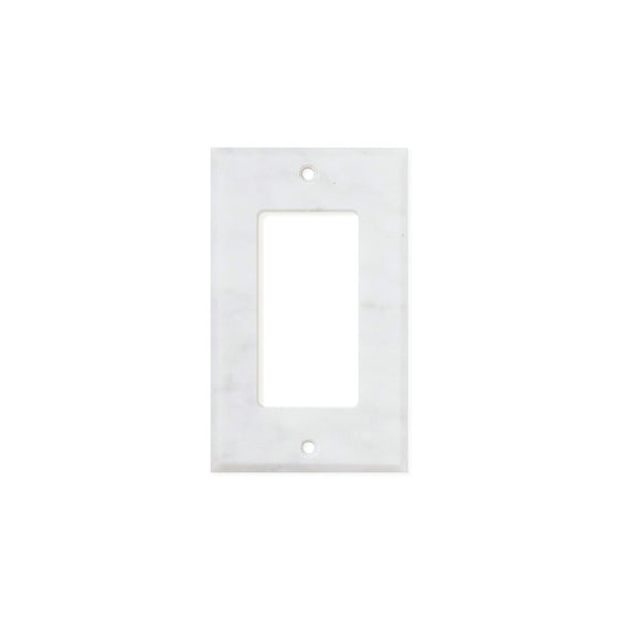 Bianco Carrara (Carrara White) Marble Switch Plate Cover, Honed (SINGLE ROCKER)