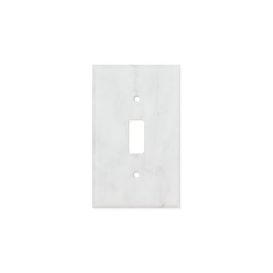 Bianco Carrara (Carrara White) Marble Switch Plate Cover, Honed (SINGLE TOGGLE)