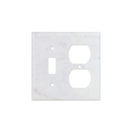Bianco Carrara (Carrara White) Marble Switch Plate Cover, Honed (TOGGLE DUPLEX)