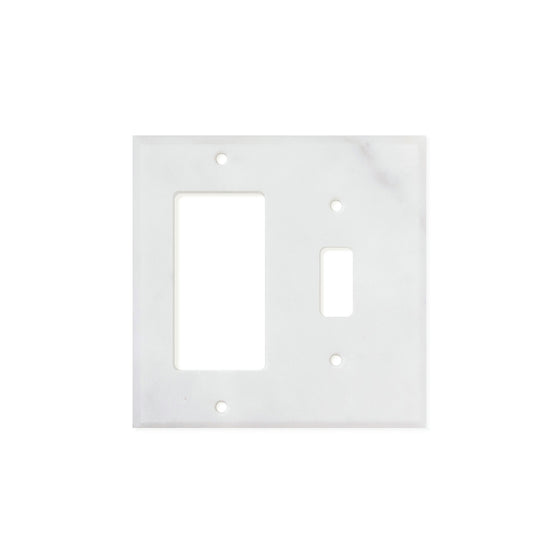Bianco Carrara (Carrara White) Marble Switch Plate Cover, Honed (TOGGLE ROCKER)