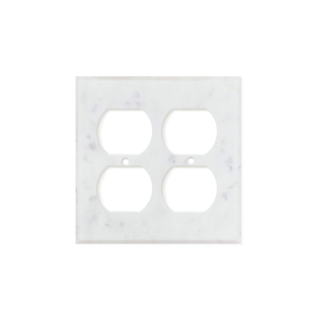 Bianco Carrara (Carrara White) Marble Switch Plate Cover, Polished (2 DUPLEX) - Tilephile