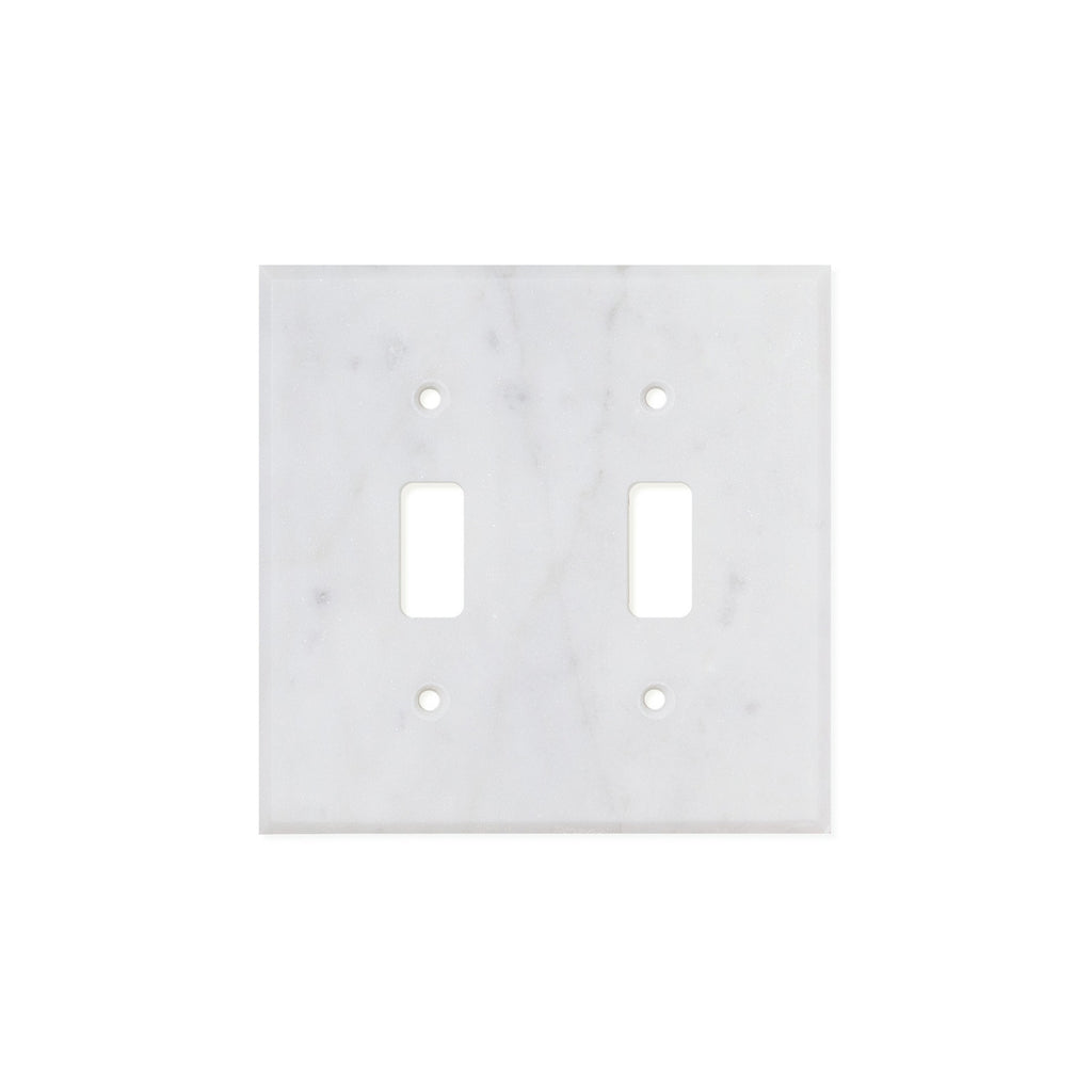 Bianco Carrara (Carrara White) Marble Switch Plate Cover, Polished (2 TOGGLE) - Tilephile