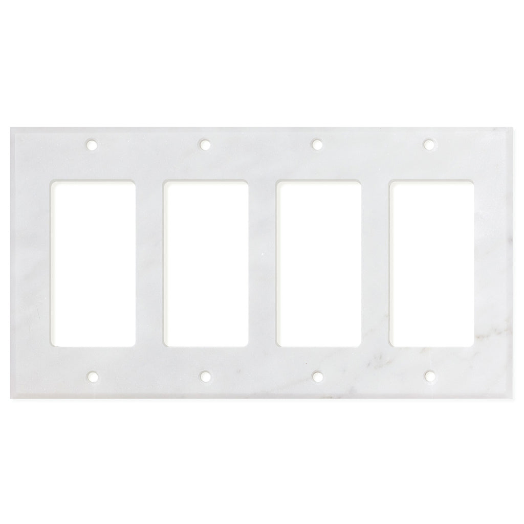 Bianco Carrara (Carrara White) Marble Switch Plate Cover, Polished (4 ROCKER) - Tilephile