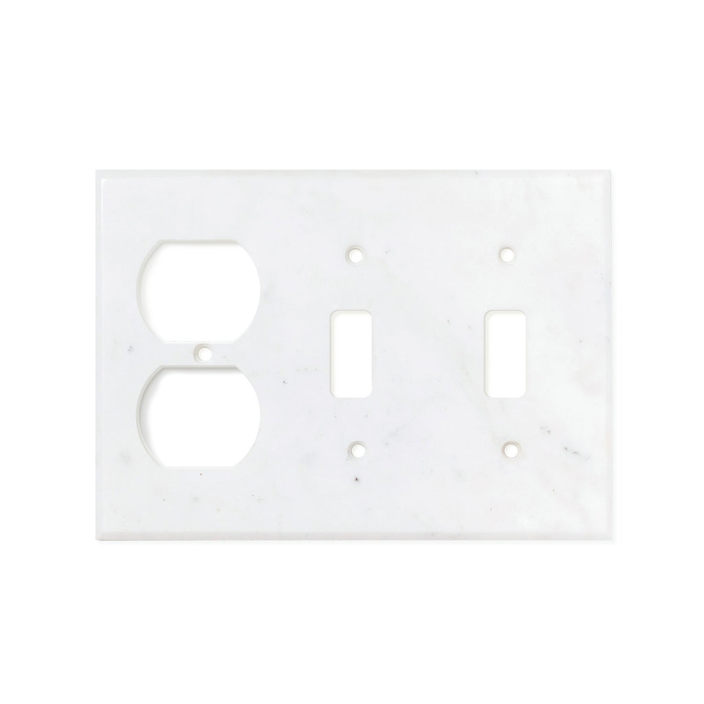 Bianco Carrara (Carrara White) Marble Switch Plate Cover, Polished (DOUBLE TOGGLE DUPLEX) - Tilephile