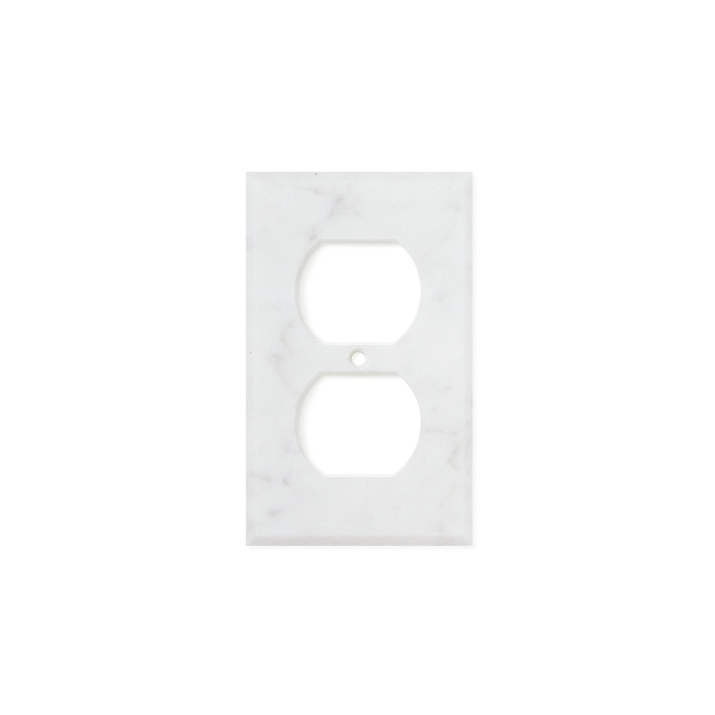 Bianco Carrara (Carrara White) Marble Switch Plate Cover, Polished (SINGLE DUPLEX) - Tilephile