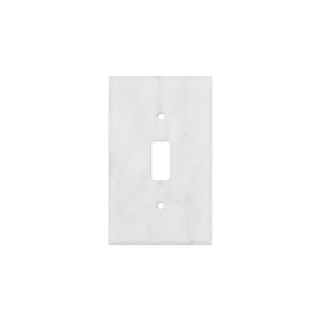 Bianco Carrara (Carrara White) Marble Switch Plate Cover, Polished (SINGLE TOGGLE) - Tilephile