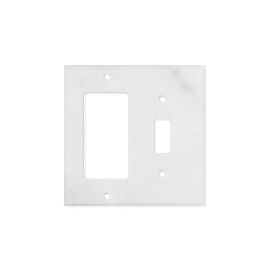 Bianco Carrara (Carrara White) Marble Switch Plate Cover, Polished (TOGGLE ROCKER) - Tilephile
