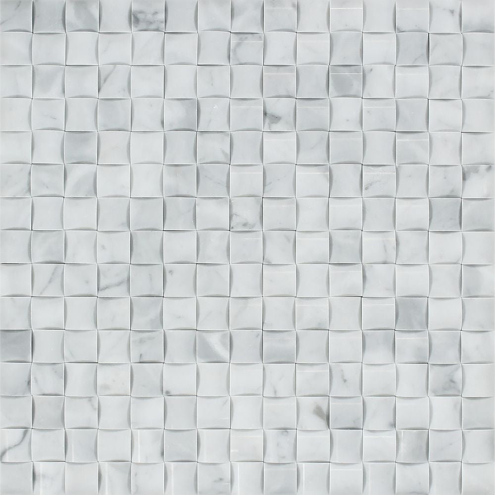Bianco Carrara Polished Marble 3-D Small Bread Mosaic Tile Sample - Tilephile