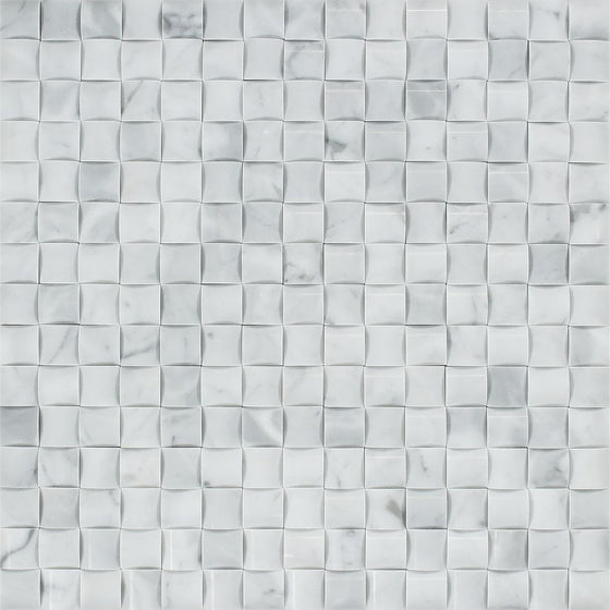 Bianco Carrara Polished Marble 3-D Small Bread Mosaic Tile - Tilephile