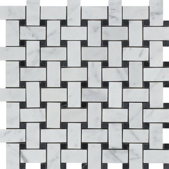 Bianco Carrara Polished Marble Basketweave Mosaic Tile (w/ Black Dots)