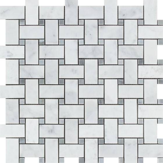 Bianco Carrara Polished Marble Basketweave Mosaic Tile (w/ Blue-Gray Dots)