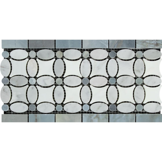 Bianco Carrara Polished Marble Florida Flower Border (Thassos + White Carrara (Oval) + Blue-Gray (Dots))