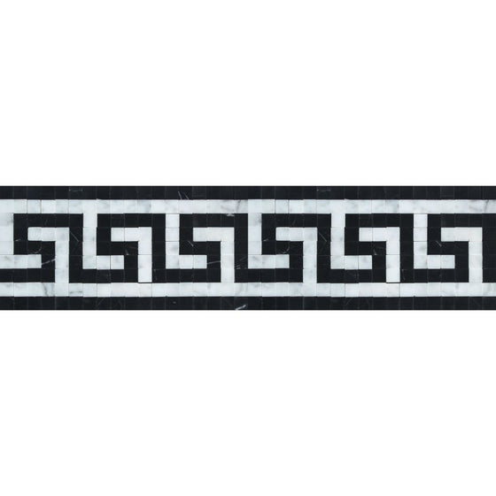 Bianco Carrara Polished Marble Greek Key Border (Carrara w/ Black) - Tilephile