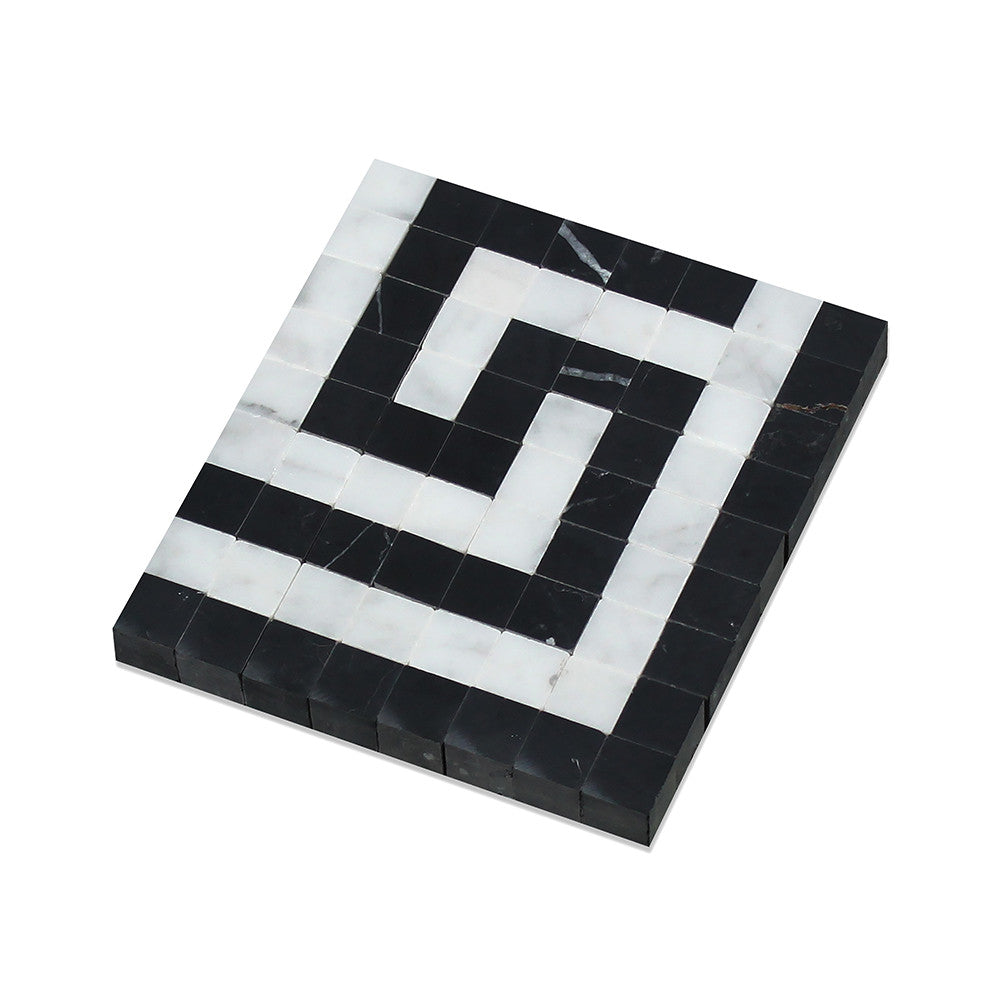 Bianco Carrara Polished Marble Greek Key Corner (Carrara w/ Black) - Tilephile