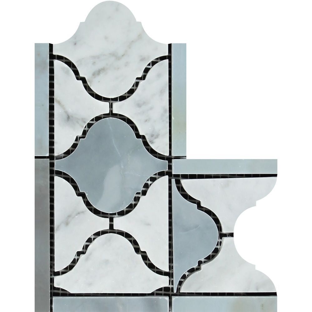 Bianco Carrara Polished Marble Lantern Corner (Carrara w/ Blue-Gray) Sample - Tilephile