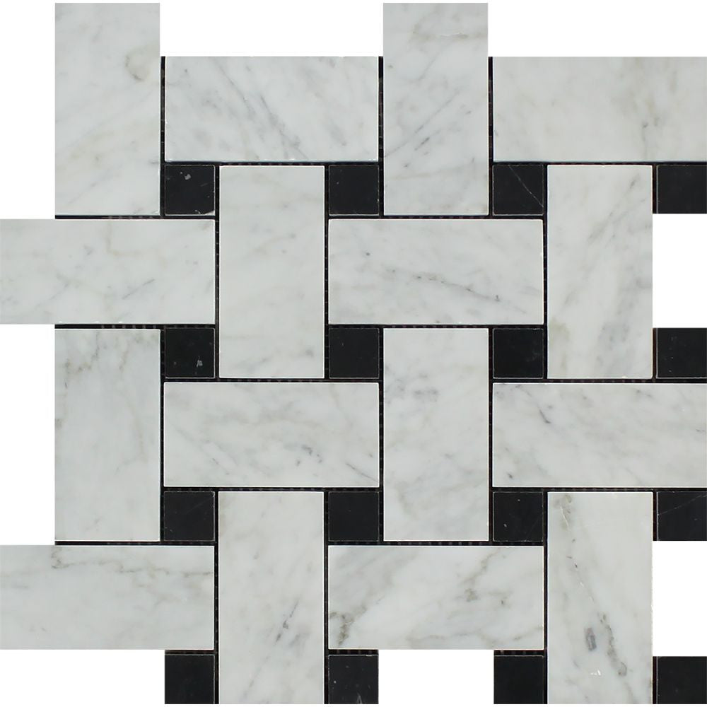 Bianco Carrara Polished Marble Large Basketweave Mosaic Tile (w/ Black Dots) Sample - Tilephile