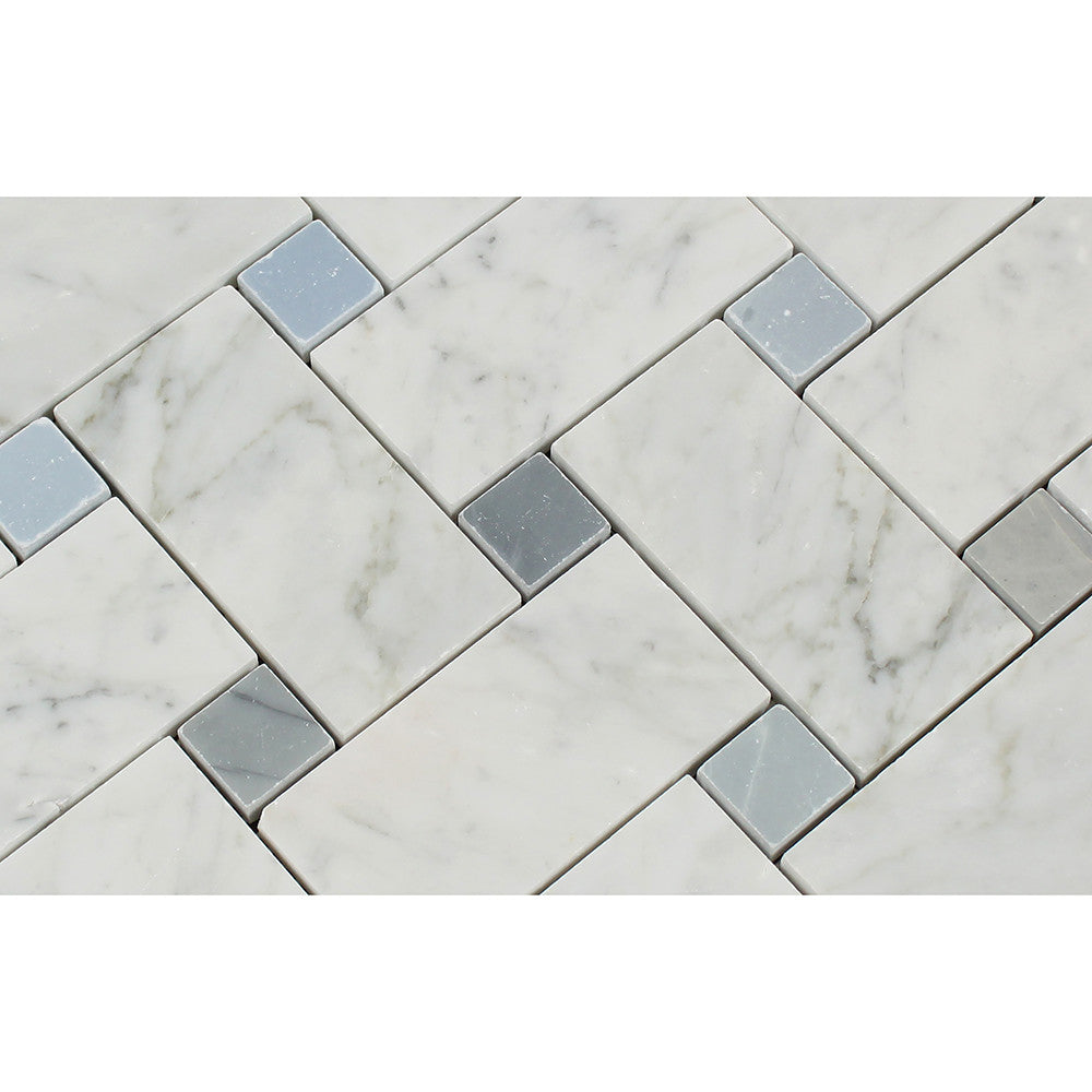 Bianco Carrara Polished Marble Large Basketweave Mosaic Tile (w/ Blue-Gray Dots) - Tilephile