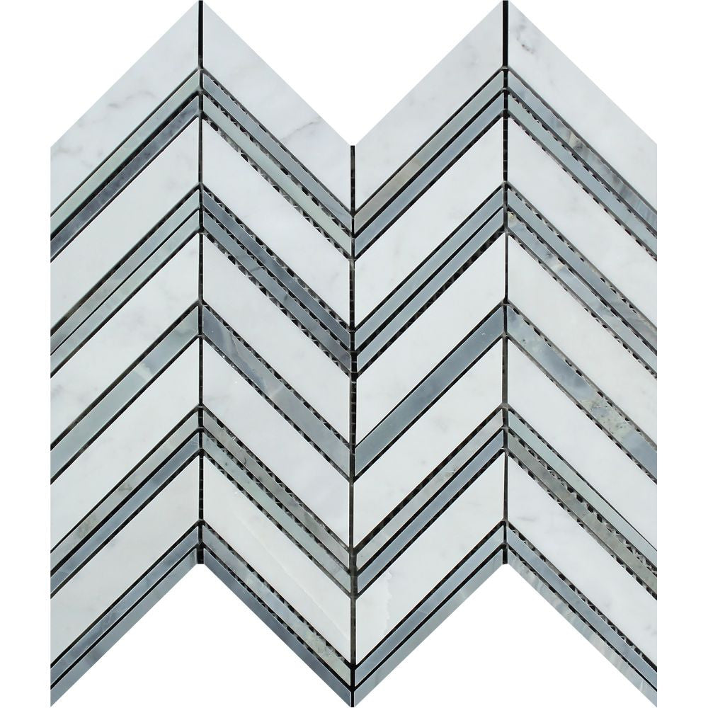 Bianco Carrara Polished Marble Large Chevron Mosaic Tile (Carrara + Blue-Gray (Thin Strips)) Sample - Tilephile