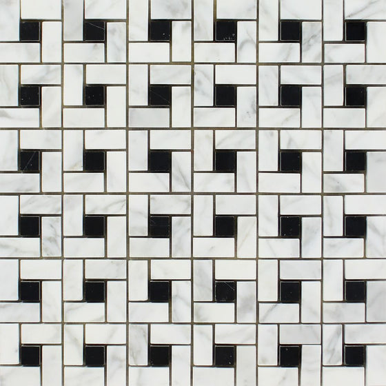 Bianco Carrara Polished Marble Mini Pinwheel Mosaic Tile (w/ Black Dots)