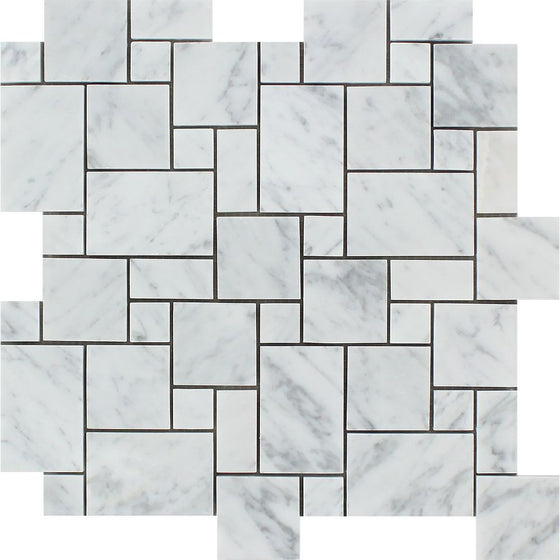 Bianco Carrara Polished Marble Mini Versailles Pattern Mosaic Tile - Tilephile