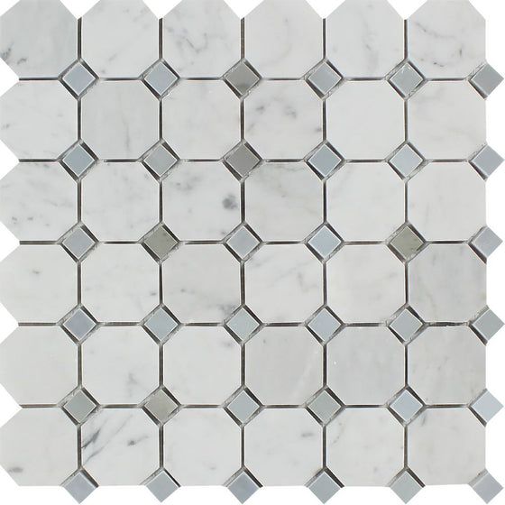 Bianco Carrara Polished Marble Octagon Mosaic Tile (w/ Blue-Gray Dots) - Tilephile