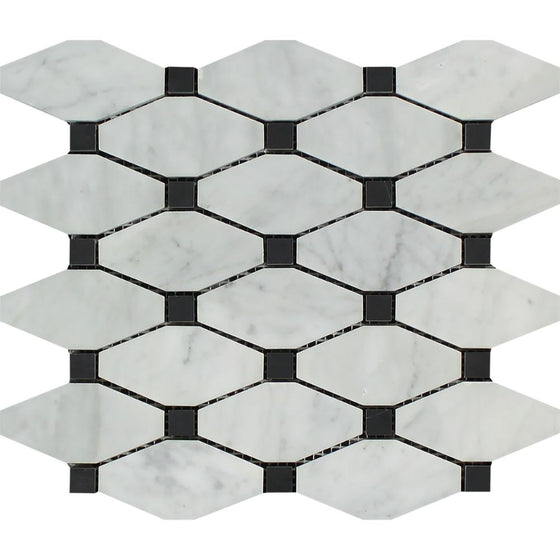 Bianco Carrara Polished Marble Octave Mosaic Tile (w/ Black Dots) - Tilephile