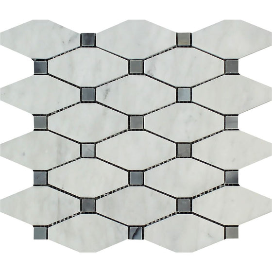 Bianco Carrara Polished Marble Octave Mosaic Tile (w/ Blue-Gray Dots) - Tilephile