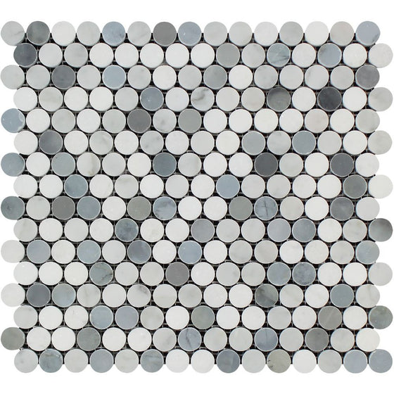 Bianco Carrara Polished Marble Penny Round Mosaic Tile (Carrara + Thassos + Blue) - Tilephile