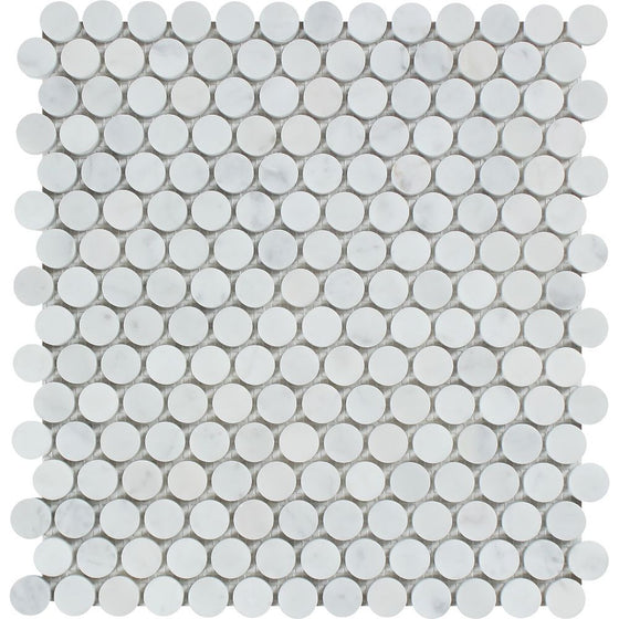 Bianco Carrara Polished Marble Penny Round Mosaic Tile - Tilephile