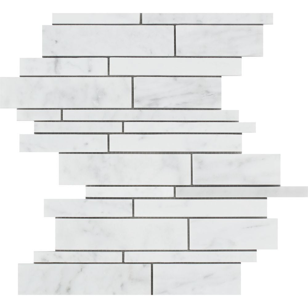 Bianco Carrara Polished Marble Random Strip Mosaic Tile Sample - Tilephile