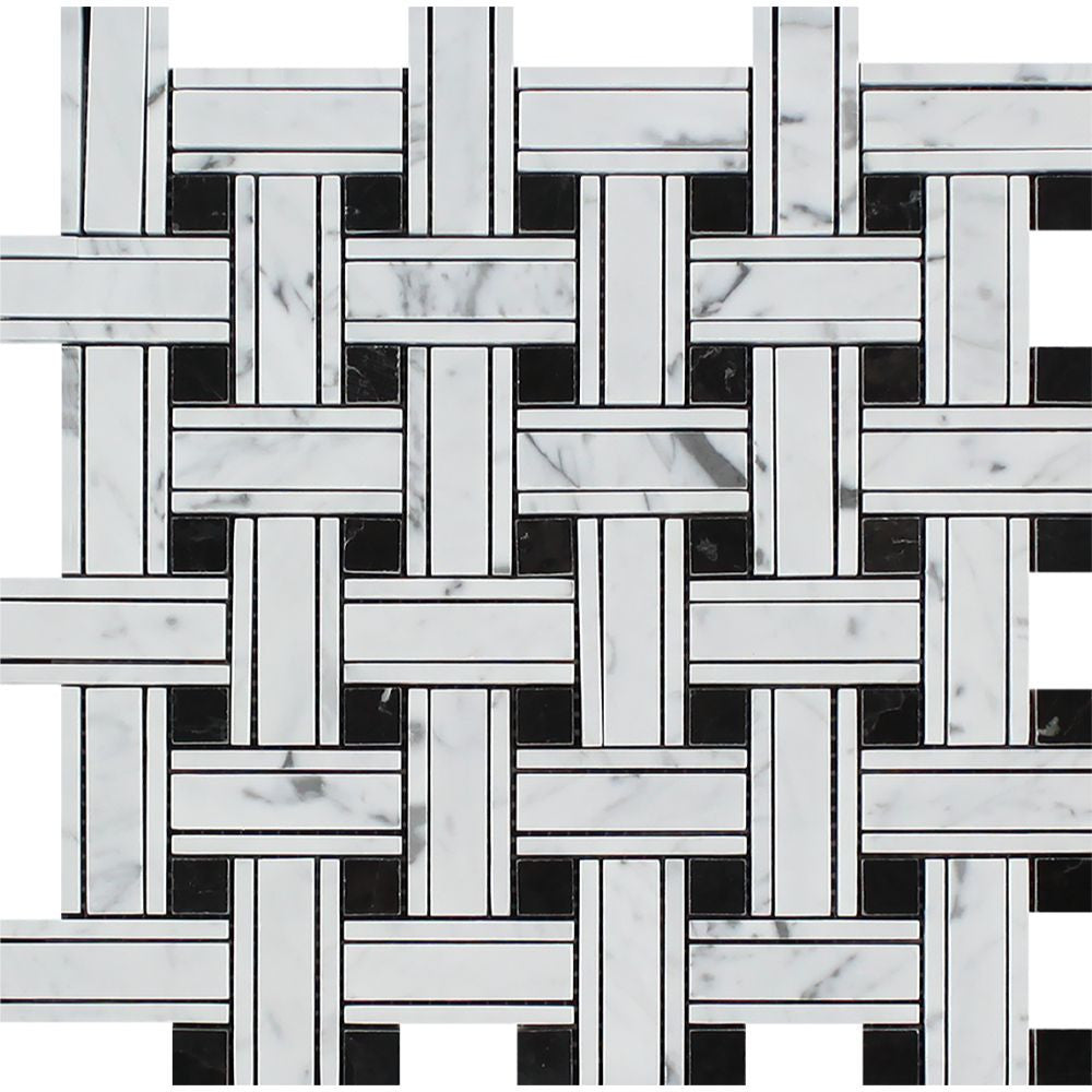 Bianco Carrara Polished Marble Tripleweave Mosaic Tile (w/ Black) Sample - Tilephile