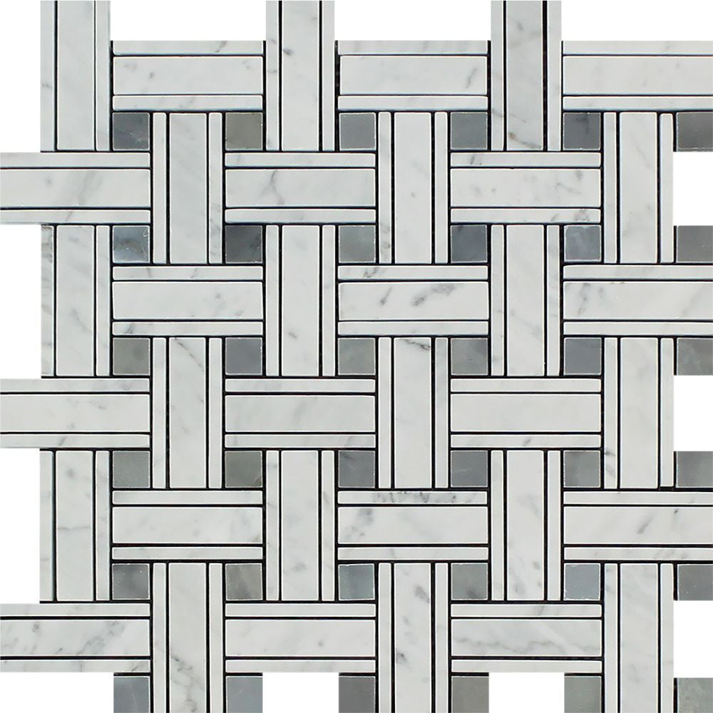 Bianco Carrara Polished Marble Tripleweave Mosaic Tile (w/ Blue-Gray) Sample - Tilephile