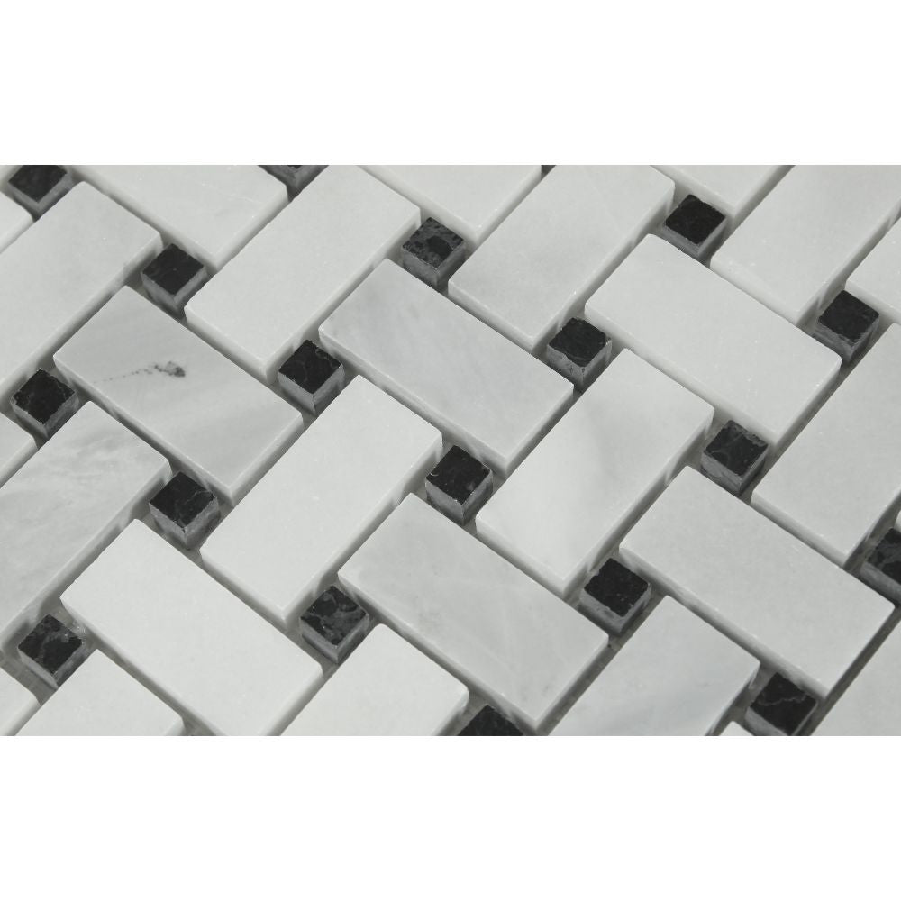 Bianco Mare Honed Marble Basketweave Mosaic Tile w/ Black Dots - Tilephile
