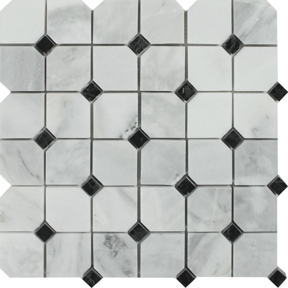 Bianco Mare Honed Marble Octagon Mosaic Tile w/ Black Dots Sample - Tilephile